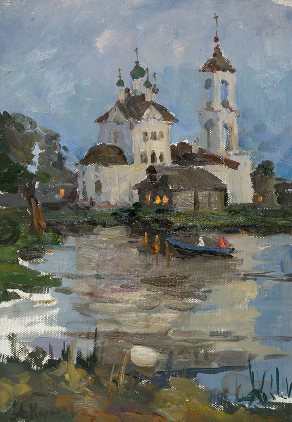 Church on the River in the Evening by Anatoli Karyakin