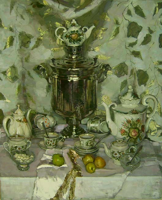 Still Life with Samovar and Apples by Olga Grigorieva