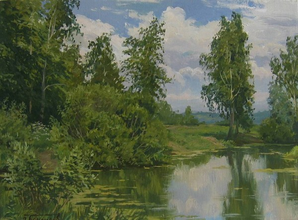Birches at a Pond by Stanislav Brusilov